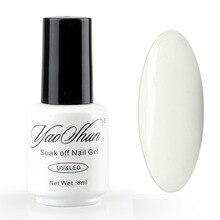 Uñas de gel de uñas YaoShun color Blanco French Manicure soak-off gel UV LED polaco 8 ml de larga duración hasta 30 días