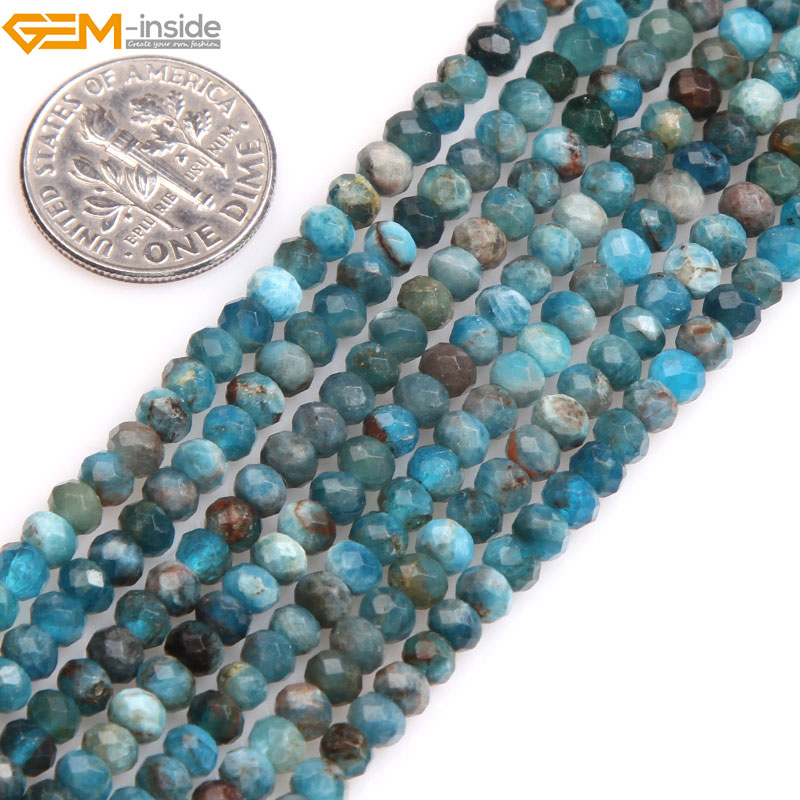 Gem-inside Natural AAA Grade Blue Faceted Rondelle Heishi Spacer Apatite Beads For Jewelry Making 15  DIY  Christmas GiftGem-inside Natural AAA Grade Blue Faceted Rondelle Heishi Spacer Apatite Beads For Jewelry Making 15  DIY  Christmas Gift