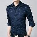 2016 primavera estilo marca Men Shirt longo - manga Chemise Homme Slim Fit camisas casuais moda vestuário Camisa Masculina Social