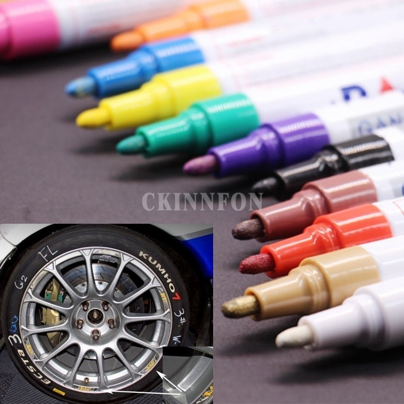 DHL 200 PCS New Fashion Colorful Waterproof Pen Car Tyre Tire CD Metal Permanent Paint markers