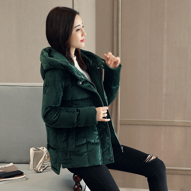 Velvet Short Hooded Cotton Padded Thick Casual High Quality Winter Coat   Parka   Loose Wadded Winter Jacket Women Manteau TT3618