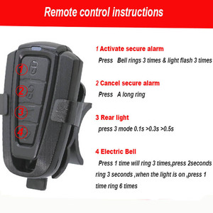 Image 3 - Беспроводной Электрический велосипесветильник звонок, светильник дный сигнал тревоги, велосипедный задний фонарь, светодиодный Противоугонный сигнал, дистанционное управление, велосипедные аксессуары
