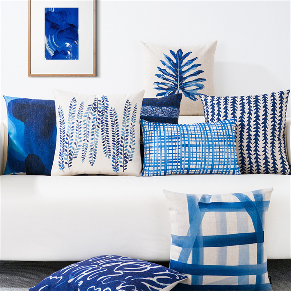 Nordic Style Decorative Throw Pillow Case Blue Geometric Lumbar Pillow Cushion Cover Case Decoration For Sofa Home Cojines 45x45