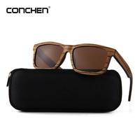CONCHEN New Luxury Wooden Sunglasses Women Polarized Spring Hinge Mens Sun Glasses 2018