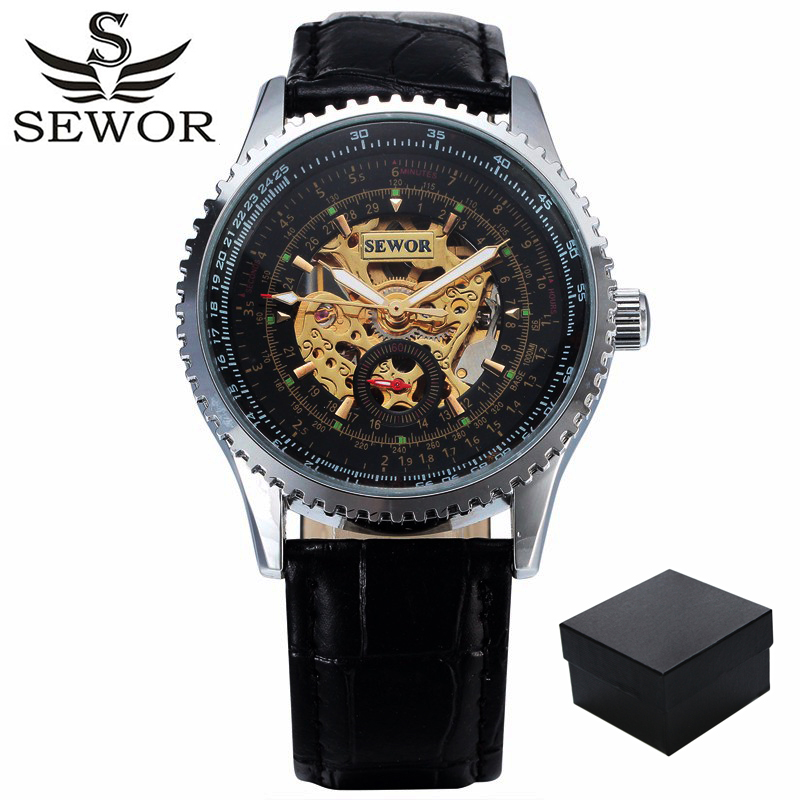 SEWOR Self Wind Automatic Mechanical Watch Men Luxury Brand Business Skeleton Men's Wrist Watches Army Clock Leather Bracelet
