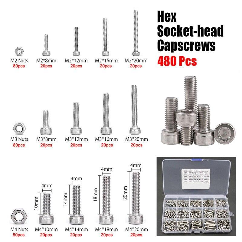 480pcs M2 M3 M4 Hex Socket Screws Set Stainless Steel Cap Head Nuts