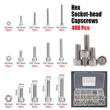 480pcs M2 M3 M4 Hex Socket Screws Set Stainless Steel Cap Head Nuts