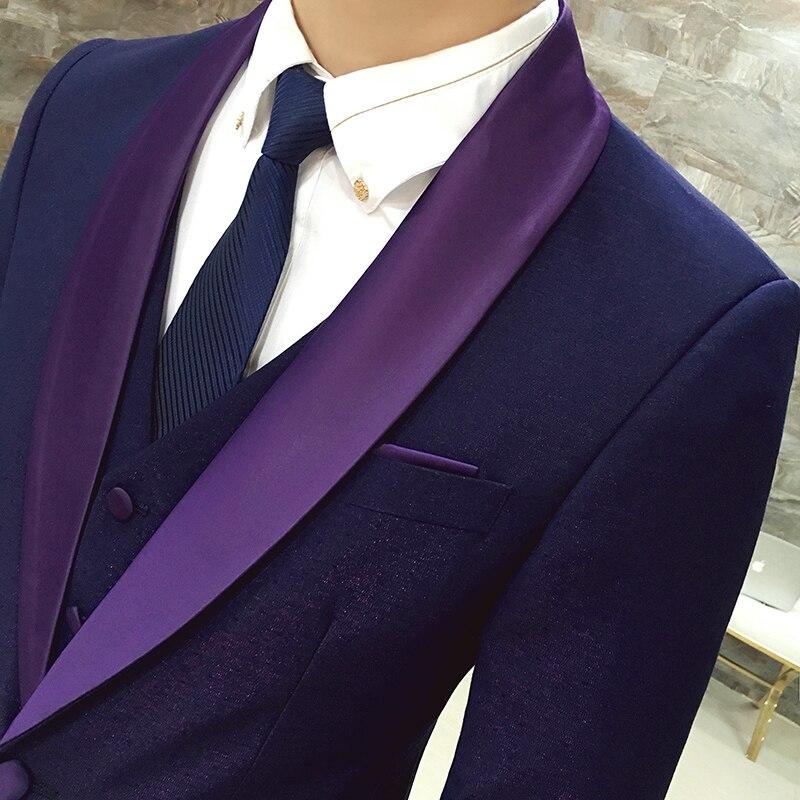4316290e5a Modern Latest Coat Pant Designs Prom Suits Navy Purple 3 Piece (Jacket +  Vest + Pants) Wedding Suit For Men Slim Fit Boys Tuxedo-in Suits from Men's  ...