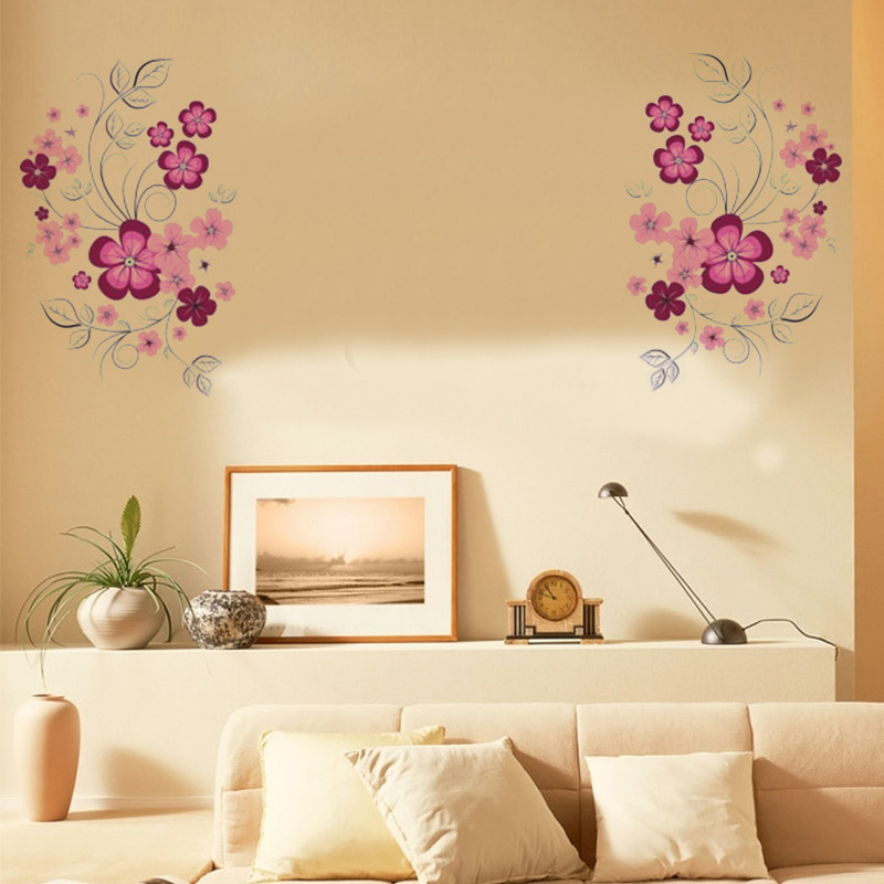 Beautiful flower wall stickers decals for kids room living - Beautiful wall stickers for living room ...