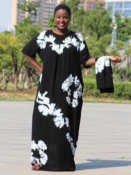 Dashikiage black cotton soft textured comfortable dress with a big scarf 1