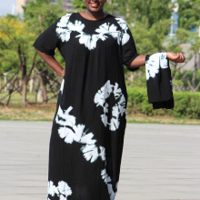 Dashikiage black cotton soft textured comfortable dress with a big scarf