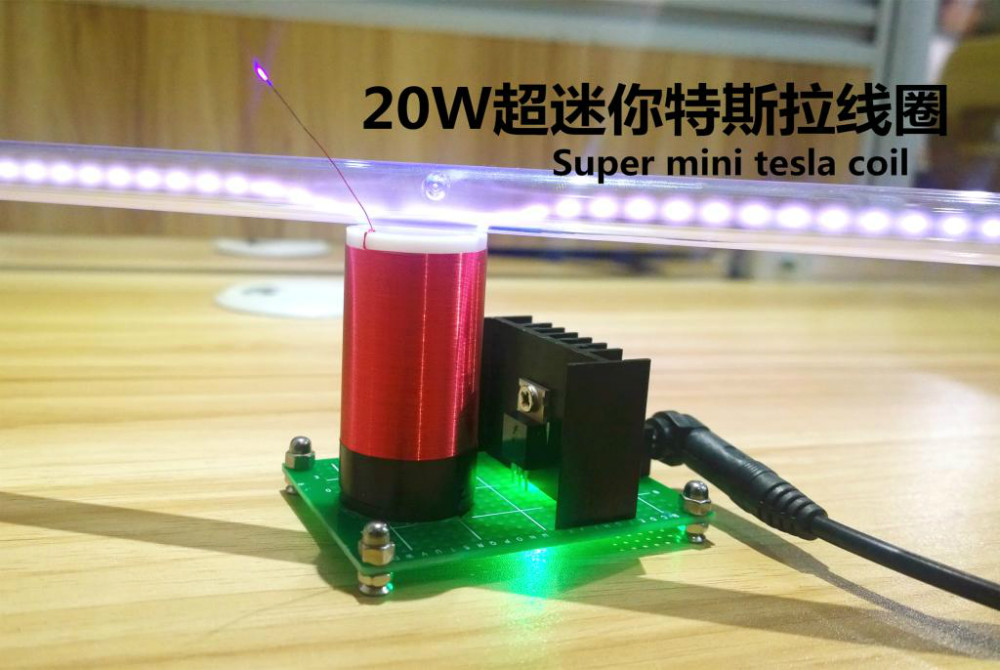 Small tesla coil level 20 watts power super mini tesla's coil wireless transmission experiment tesla coil music diy arc homemade plasma speaker miniature