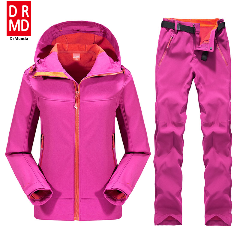 Outdoor Female Hiking Soft Shell Jacket suits with soft shell fleece pant Sport Waterproof Breathable Warm