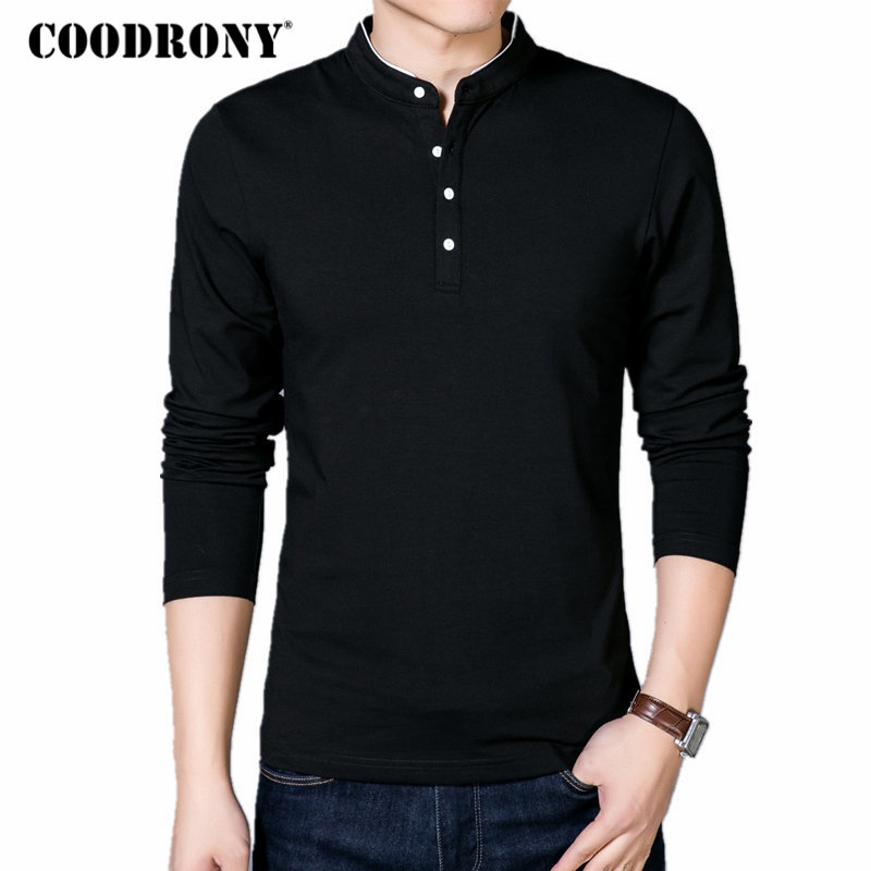 COODRONY T-Shirt Men 2019 Spring Autumn New Cotton T Shirt Men Solid Color Chinese Style Mandarin Collar Long Sleeve Top Tee 608