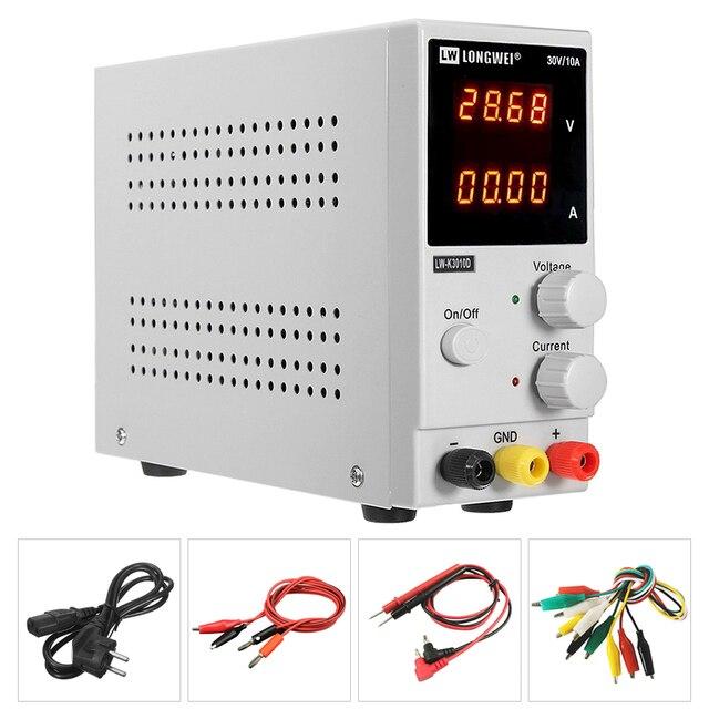 LW K3010D yeni yükseltme 4 haneli ekran ayarlanabilir DC güç kaynağı 30V 10A voltaj regülatörü tamir tamir laboratuvar güç kaynağı