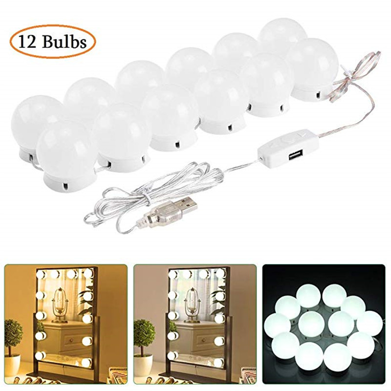 LEDGLE 12 Bulbs LED Makeup Mirror Light Hollywood Vanity Light 12W Stepless Dimmable Wall Lamp Gift Bulb Kit For Dressing Table