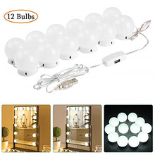 LEDGLE 12 Bulbs LED Makeup Mirror Light Hollywood Vanity 12W Stepless Dimmable Wall Lamp Gift Bulb Kit for Dressing Table