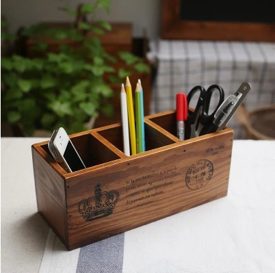 Hot Sale Zakka Wooden Pen Holder Storage Box three grids Brush Pot Boxes for Crafts Caixa Organizadora