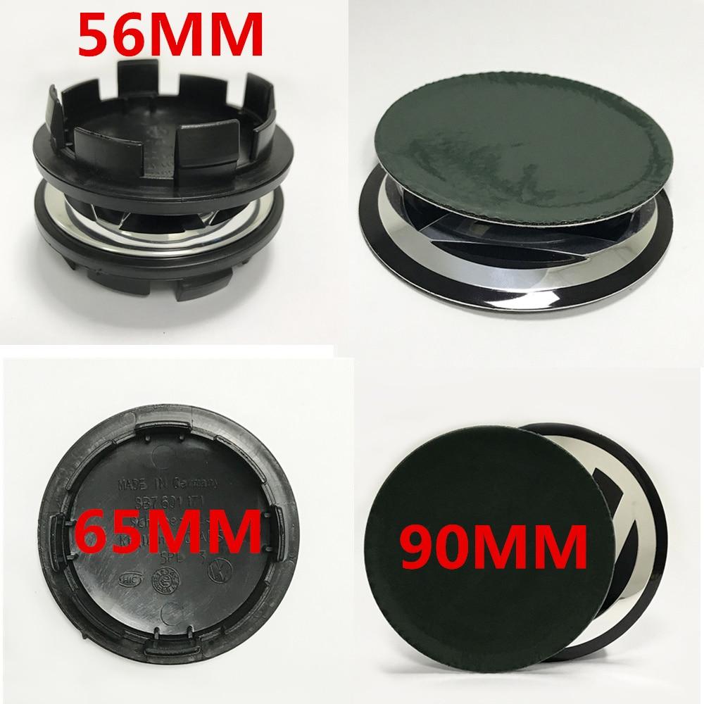 4pcs car sticker 56mm 65mm 90mm wheel center hub caps Logo badge emblems for Golf Jetta Mk5 Passat B6 for VW sticker styling