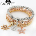 3PCS/SET 2016 New Rose Gold Plated Charm Bracelets For Women Vintage Multilayer Bracelet With European Anchor Charms