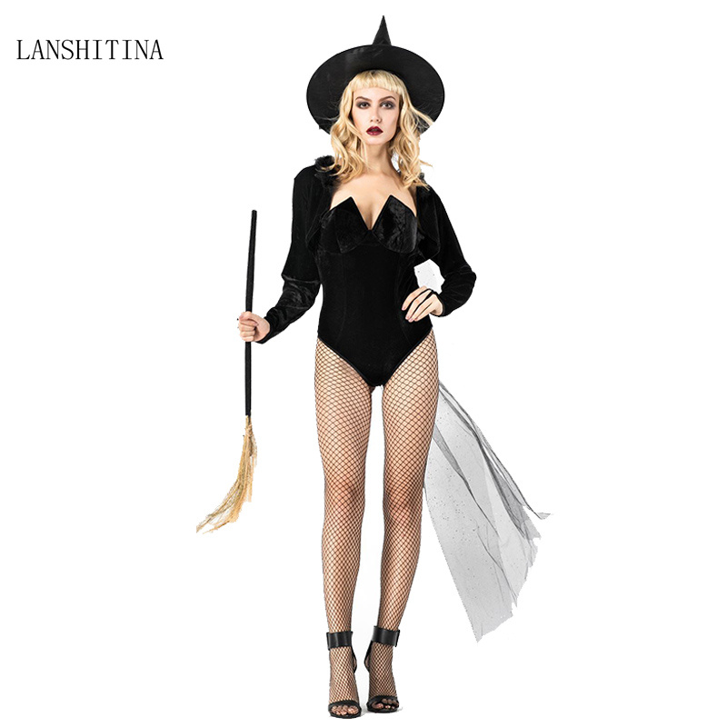 LANSHITINA Halloween Women Black Witch Queen Maleficent Costumes Carnival Party Cosplay Fancy Witch Cosplay Costumes