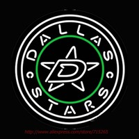 Dallas Stars Secondary Logo Neon Sign Bright Neon Bulbs Real Glass Tubes Handcrafted Recreation Room Free