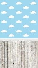 Huayi fundo piso de madeira do vintage da arte dos desenhos animados nuvem tecido recém-nascidos cenário d-163