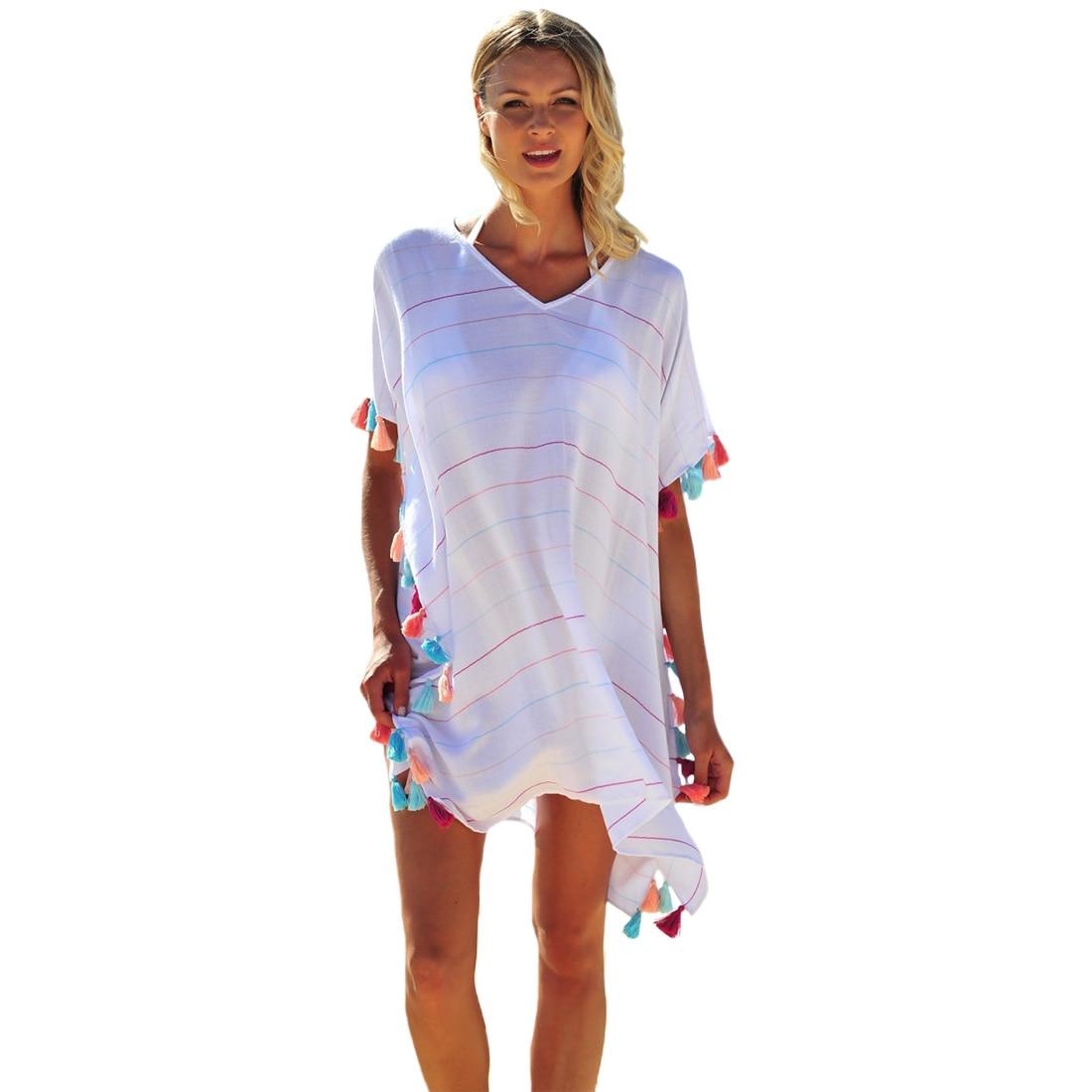 Women's Clothing Swimwear Holiday Women Blouse Printed Beach Casual Crew Neck Stylish Summer Chiffon Tassel Bikini Cover Up Batwing Sleeve Sexy Refreshment