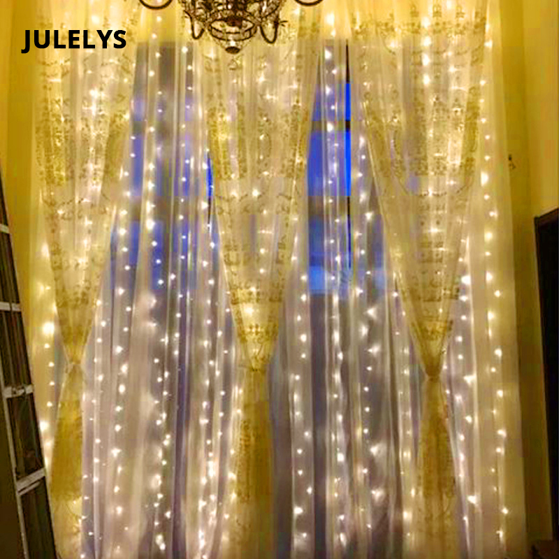 JULELYS 8M x 1.5m 384 Bulbs Fairy LED Lights Decoration For Wedding Party Holiday Home Garden Garland Christmas Curtain LightsJULELYS 8M x 1.5m 384 Bulbs Fairy LED Lights Decoration For Wedding Party Holiday Home Garden Garland Christmas Curtain Lights