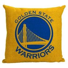 Guerreros funda de almohada, creativo logotipo del equipo de baloncesto Golden State Warriors cartoon throw pillow case funda de almohada por mayor