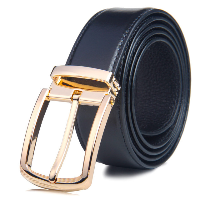 2017 New Business mens  Belts 100% Cowhide leather for male Brand ceinture Homme Metal buckle Color Black waistband freeshipping