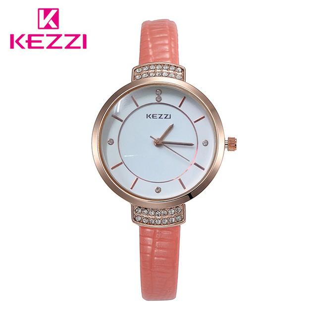 KEZZI Brand Luxury Crystal Women Watches Big Dial Femail Watch Imitation Leather Strap Ladies Dress Wristwatch relogio feminino
