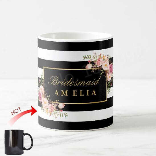d07a53a45f6 New Stylish Bridesmaid Personalised Floral Magic Mug Elegant Black White  Stripe Bridal Party Gift Custom Wedding