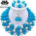 Модный Нигерии Свадьба африканские ювелирных изделий шариков установить Бирюзовый Синий пластиковый ожерелье браслет серьги Бесплатная доставка VV-277