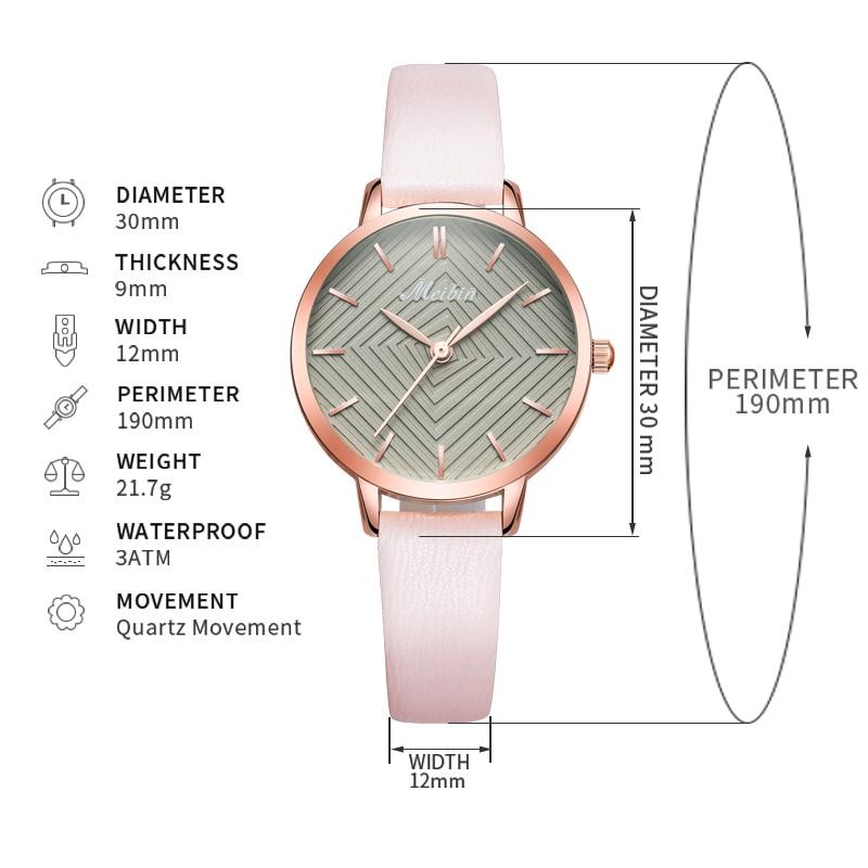MEIBIN luxe merk vrouwen horloges 2018 mode roze lederen dameshorloge - Dameshorloges - Foto 6