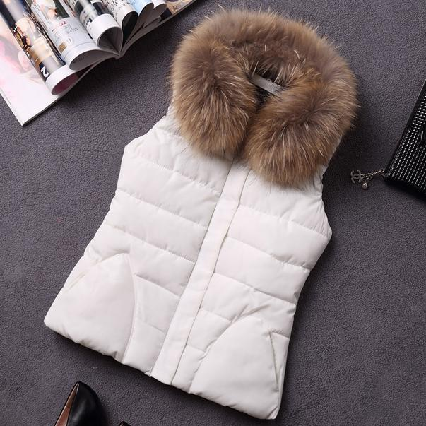 autumn and winter women's design vest cotton vest down cotton fur collar vest outerwear female