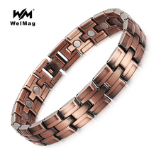 WelMag 2019 Hot Healthy Copper Magnetic Bracelet For Man Bio Energy Magnets bangles Women Men Healing Magnetotherapy Jewelry