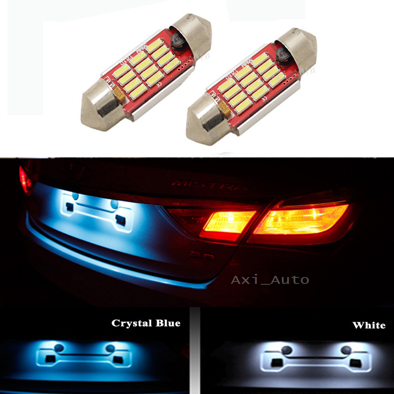 2pcs LED 36mm White blue Canbus C5W Bulbs 4014 SMD Interior Lights License Plate Light For BMW E39 E36 E46 E90 E60 E30 E53 E70 cn360 2pcs extremely bright canbus error free 31mm 36mm 39mm 41mm festoon dome c5w car led light bulb