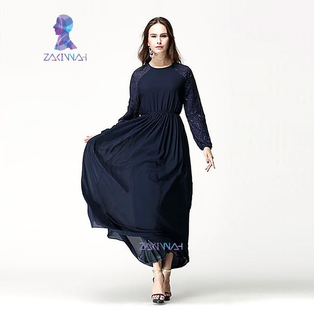 Estilo O005New baju musulmán Más Tamaño jilbabs y abayas 2015 vestido largo china-post-sitio web de Lentejuelas Gasa jilbabs y abayas 2015