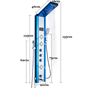 Image 5 - ULGKSD LED פנל מקלחת גשם מפל מקלחת טמפרטורת מסך עיסוי ספא W/בידה Jet ארבעה ידיות מיקסר ברז כיור ברז סט