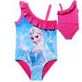 Summer Children Swimwear Sets Anna Elsa Strapped Bikini Off-Shoulder Bathing Kids Beachwear Cartoon Swimsuits For Little Girls