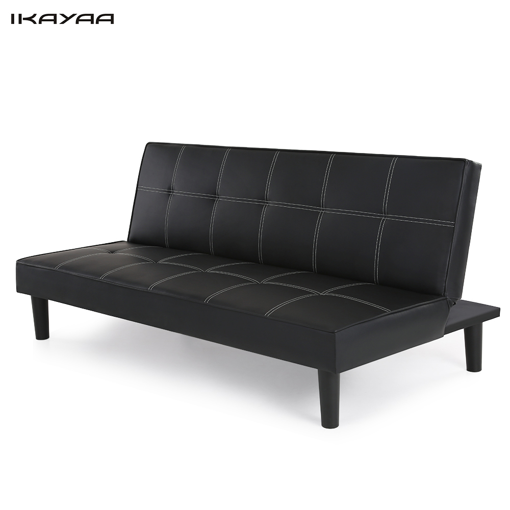 IKayaa US DE Stock Contemporary Faux Leather Futon Sofa Bed Sleeper  Convertible 3 Seater Sofa Couch Back Adjustable Black
