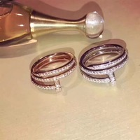 Brand famous replica jewelry nail ring 925 silver jewelry rose gold 3A zircon women fashion two layer wedding love ring