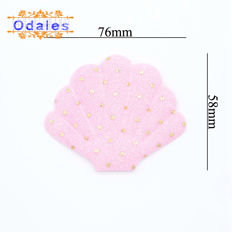 10Pcs NEW Shell Padded Appliques for Cake Insert Card & BB Clip Accessories DIY Kid Patches Glitter Dot Print Shell Scrapbooking