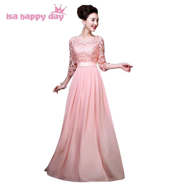 pink lace the bride chiffon floor length bridesmaid dresses ...