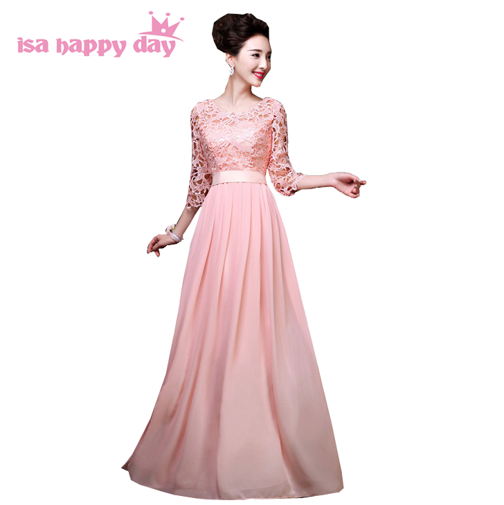 pink lace the bride chiffon floor length   bridesmaid     dresses   bridemaid long maid of bride sleeve   dress   illusion gown H2646