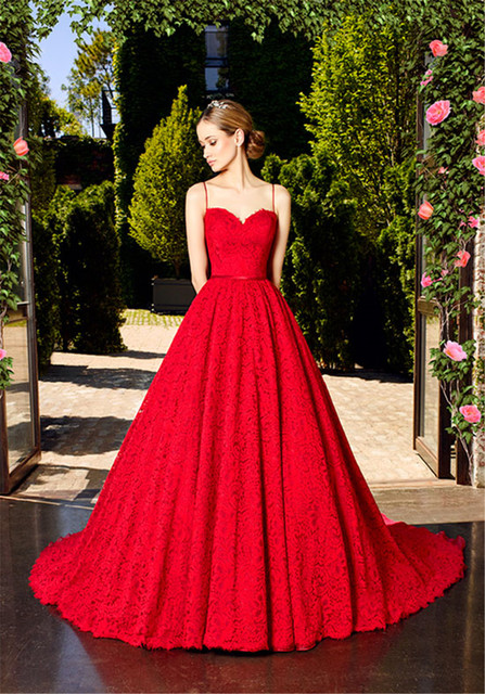 Flattering Sweetheart Neckline Spaghetti Straps Ruby Red Lace ...