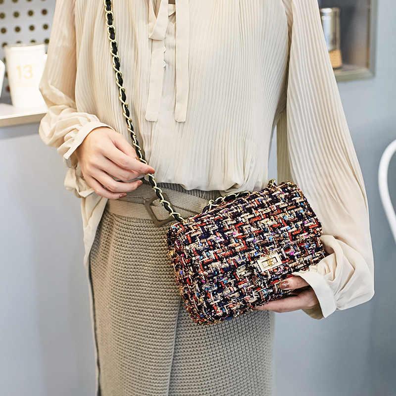 2019 złoty łańcuch w stylu Vintage małe dziewczyny torba na ramię krzyż ciała mody kobiet torba na ramię Messenger torby projektant luksusowe torebki z wełny
