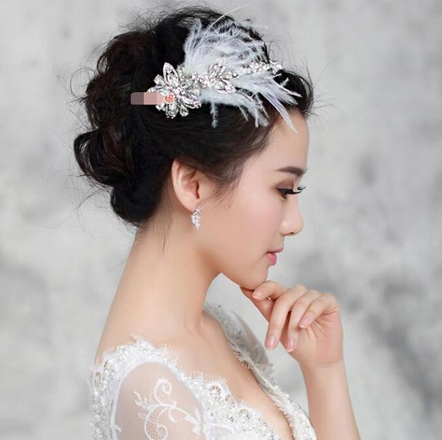 Bridal Headdress Korean Gem Hoop Cloud Feather Frontlet Short Hair Jewelry Wedding Accessories Dress