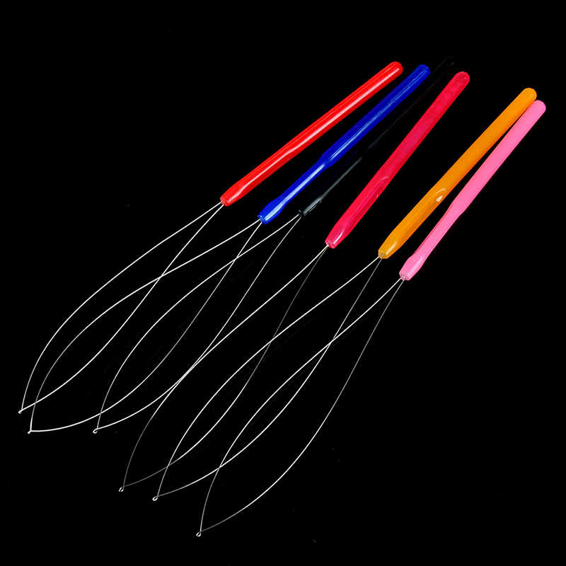New 1PC Plastic Crochet Hook Pulling Needle Loop Threader Tool for I tip Hair Extension Micro Ring Tools 6 Colors Random Send